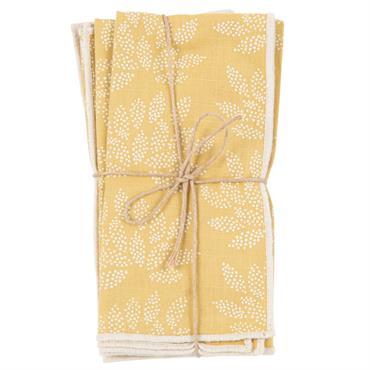 Serviettes en coton imprimé floral jaune et écru