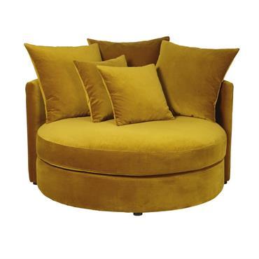 Canapé rond 1/2 places en velours jaune moutarde Dita