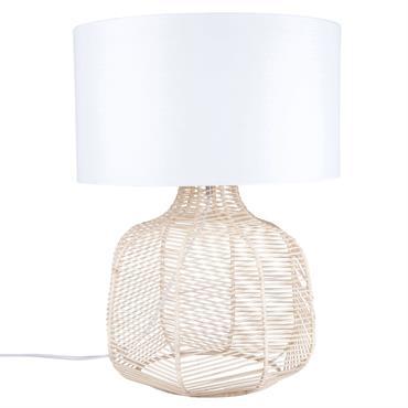 Lampe en rotin et abat-jour blanc