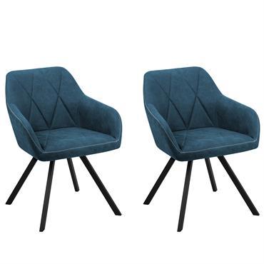 Lot de 2 chaises en tissu bleu
