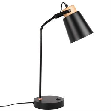Lampe en métal noir et hévéa avec port USB