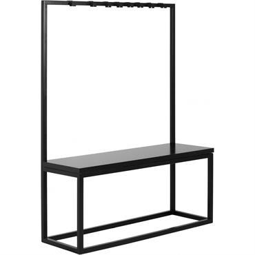 Banc métal noir et assise noire l41cm