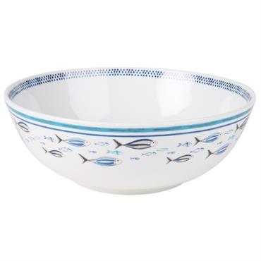 Saladier en porcelaine blanche imprimé poissons bleus
