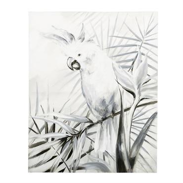 Toile noire et blanche imprimé cacatoès 80x100