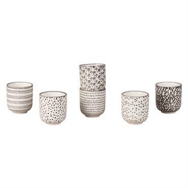 Coffret 6 tasses en faïence motifs graphiques noirs et blancs