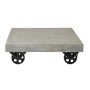 Table basse à roulettes effet béton Tolbiac