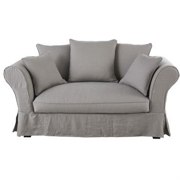 Canapé 2 places en lin froissé gris clair Roma