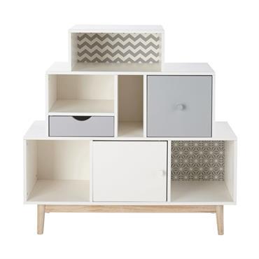 Le cabinet de rangement 2 tiroirs 1 porte blanc et gris JOY fera mouche dans la chambre de votre enfant ! Son allure déstructurée alliée à son esprit vintage font ...