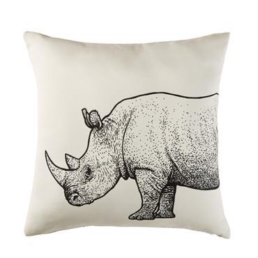Coussin d'extérieur écru imprimé rhinocéros noir 45x45