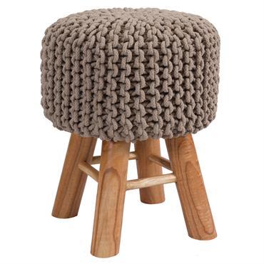 Tabouret tricot en coton taupe