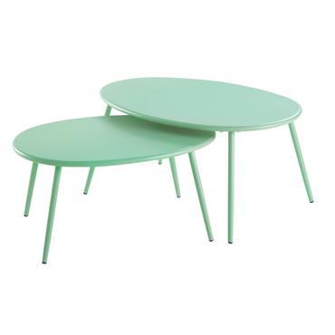 Tables gigognes en métal vert d'eau Lumpa