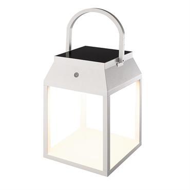 Lanterne solaire décorative aluminium blanc H29cm
