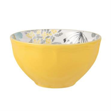 Bol en faïence jaune imprimé floral
