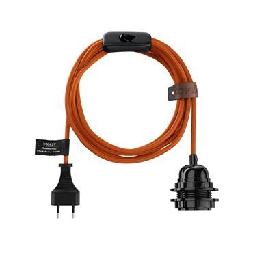 Fil électrique en tissu luminaire orange 4