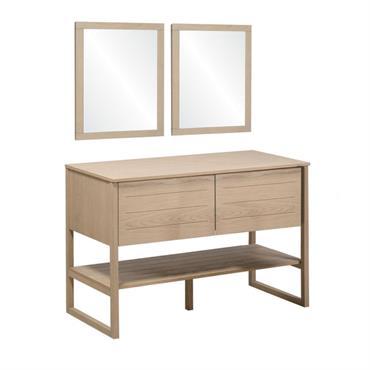 Meuble de salle de bain avec miroirs effet bois clair