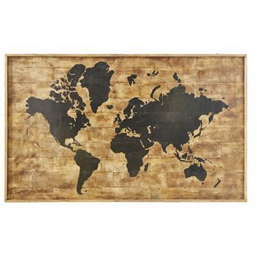 Déco murale imprimé carte du monde en manguier 140x87