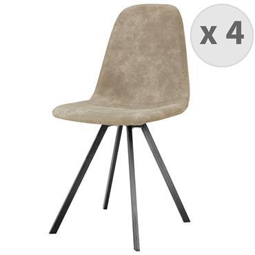 ATLANTA-Chaise industrielle microfibre vintage crème pieds noirs