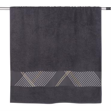 Serviette en coton gris motifs graphiques 70x140