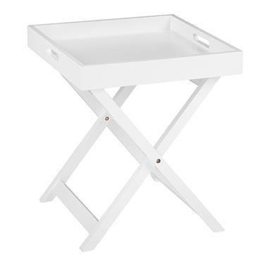 Cette table d'appoint pratique répondra à toutes vos attentes. La table possède un plateau portable en blanc élégant, pratique grâce au bord relevé, à deux poignées de transport et à ...
