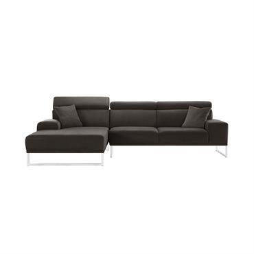 Canapé d'angle gauche 5 places en velours marron cendré