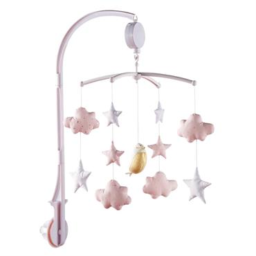 Mobile musical pour bébé blanc et rose BIRD SONG