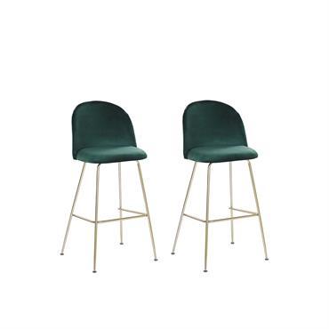 Lot de 2 chaises de bar en velours vert