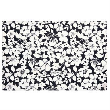 Tapis motif floral bleu et blanc 60x90