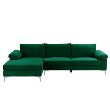 Canapé d'angle 5 places tissu velours vert