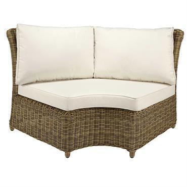 Angle rond de canapé de jardin en résine tressée grisée et coussins