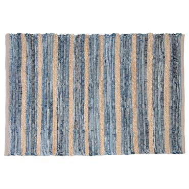 Tapis en coton bleu motifs à rayures 60x90