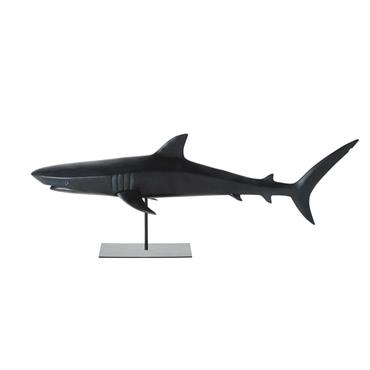 Statue requin noir mat L79