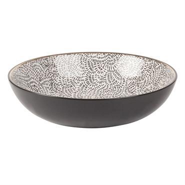 Assiette creuse en faïence motifs noirs