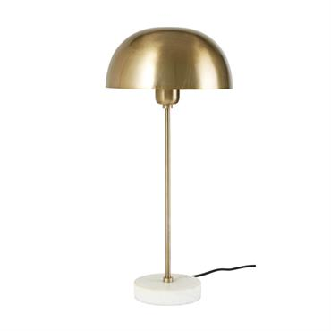 Lampe en métal doré et marbre blanc