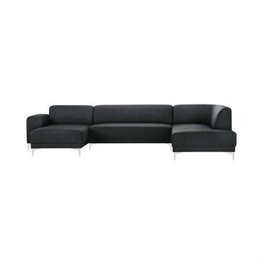 Canapé d'angle gauche 6 places toucher lin anthracite