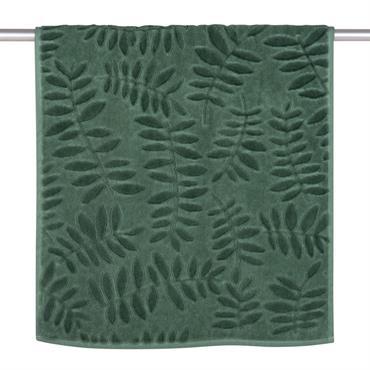 Serviette en coton vert motifs feuilles 50x100