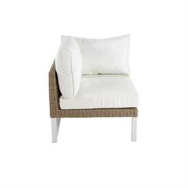 Accoudoir gauche de canapé de jardin en aluminium blanc Lodge