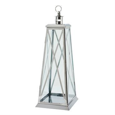 Lanterne en verre et métal argenté