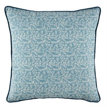 Coussin d'extérieur en coton bleu pétrole motif floral blanc 45x45