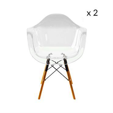 Lot de 2 chaises avec pieds en bois transparent