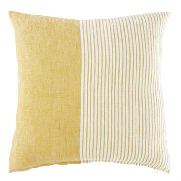 Coussin en lin jaune et blanc motifs à rayures 45x45