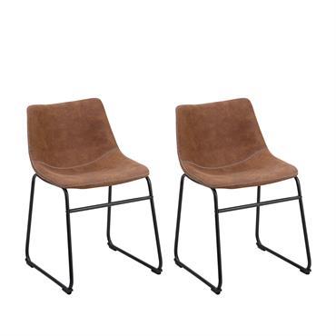 Lot de 2 chaises en tissu marron