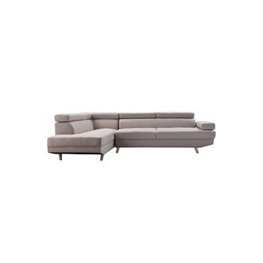 Canapé d'angle gauche Scandinave 4 places en tissu beige