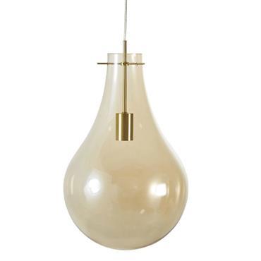 Suspension ampoule en verre teinté ambré et métal D30