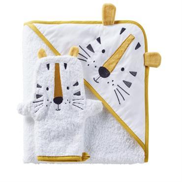 Sortie de bain bébé en coton blanc avec tête de tigre jaune