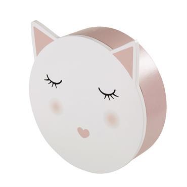 Boîte chat rose et blanche