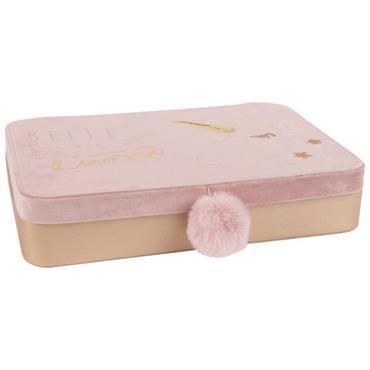 Boîte à bijoux en velours rose imprimé licorne