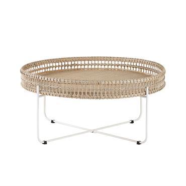 Table basse ronde en rotin tressé et métal Panglao