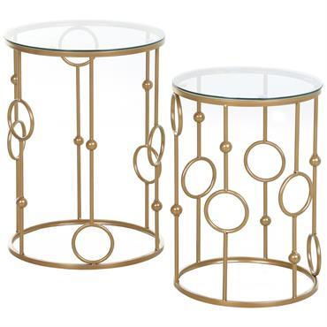 Tables gigognes lot de 2 tables basses style art déco doré verre