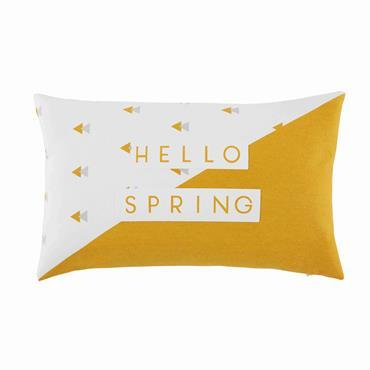Coussin en coton imprimé blanc et jaune 50x30cm SERENA