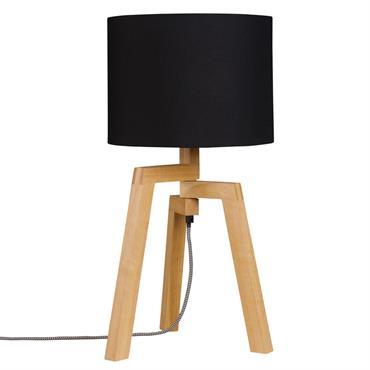 Lampe trépied abat-jour en coton noir